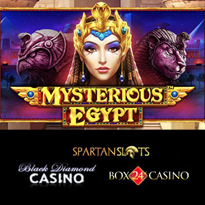 Mysterious Egypt is live at Black Diamond Casino, Box24 Casino, and Spartan Slots Casino